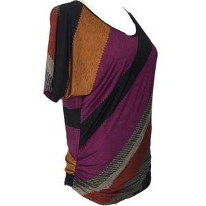 Lavish Ruched Sides Keyhole Back Diagonal Purple
